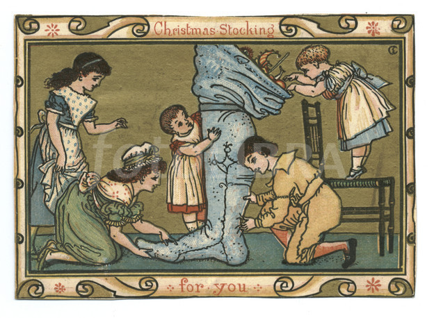 victorian christmas card 1875 by walter crane