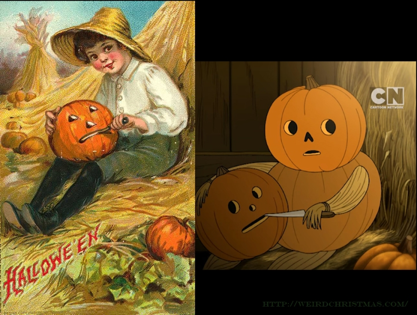lots of pictures of people carving pumpkins but the pose and placement of this is too perfect - Over The Garden Wall Episode 2